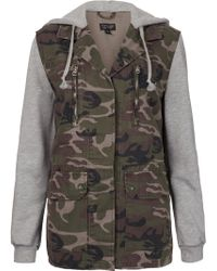 Topshop Jersey Sleeved Camo Jacket - Lyst