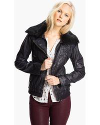 Bernardo Leather Scuba Jacket with Genuine Rabbit Fur - Lyst
