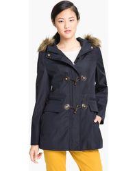 Calvin Klein Faux Fur Trim Hooded Jacket - Lyst