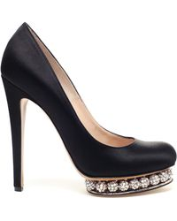 Nicholas Kirkwood Satin Pumps with Bejewelled Platform - Lyst