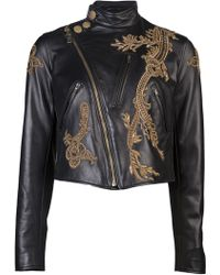 Ralph Lauren Embroidered Motorcycle Jacket - Lyst