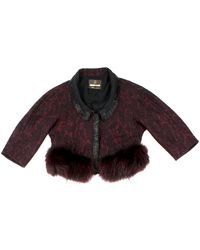 Roberto Cavalli Cropped Beaded Jacket with Fur - Lyst