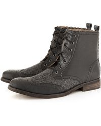 Topman Preston Boot Mix Herringbone black - Lyst