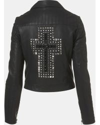 Topshop Cross Studded Faux Leather Jacket - Lyst
