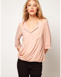 ASOS Collection Asos Blouse with Drop Wrap Placket beige - Lyst