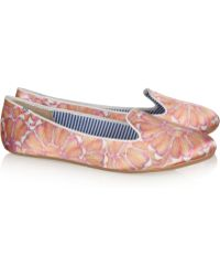 Charles Philip - Printed Satin Loafers - Lyst