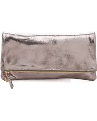 Clare Vivier Foldover Clutch silver - Lyst
