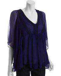 Free People Imperial Blue Beaded Chiffon Flutter Sleeve Peasant Top - Lyst