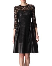 Mulberry Leather and Lace Dress - Lyst