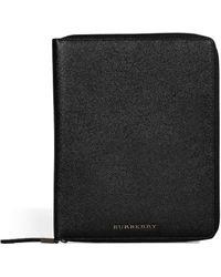 Burberry Textured Black Leather Zip Around Basey Ipad Case - Lyst
