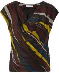 Nicole Farhi - Printed Silk Top - Lyst