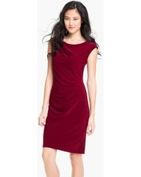 Alex & Ava Cap Sleeve Jersey Sheath Dress - Lyst