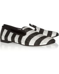 Giuseppe Zanotti Swarovski Crystalembellished Striped Grosgrain Loafers - Lyst