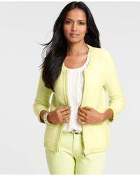Ann Taylor Merino Wool Blend Zip Front Sweater Jacket - Lyst
