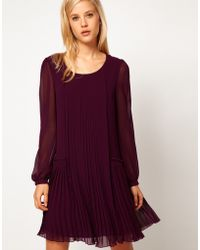 ASOS Collection Asos Shift Dress with Pleated Dropped Waist - Lyst