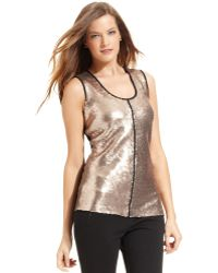 Calvin Klein Sleeveless Sequin Scoopneck - Lyst