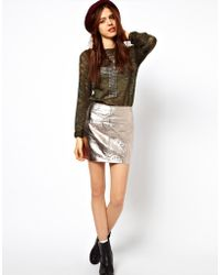 ASOS -  Mini Skirt in Metallic Leather - Lyst