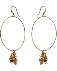 Delfina Delettrez Yellow Gold and Enamel Bee Earrings - Lyst