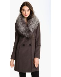 Elie Tahari Double Breasted Coat with Genuine Fox Fur Collar - Lyst