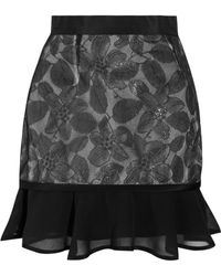 Richard Nicoll Florallace and Chiffon Mini Skirt - Lyst
