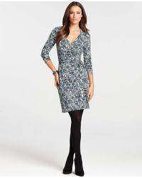 Ann Taylor Petite Tweed Print 3/4 Sleeve Wrap Dress - Lyst