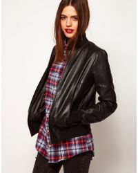 ASOS Collection Soft Leather Bomber Jacket black - Lyst