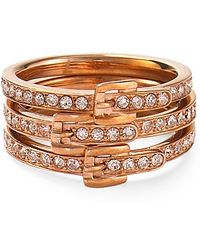 Michael Kors Pave Buckle Ring Set - Lyst