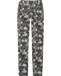 Thakoon - Rose-Print Stretch Cotton-Blend Skinny Trousers - Lyst