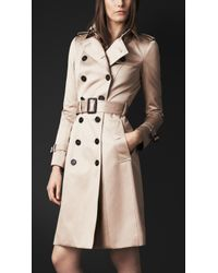 Burberry Long Cotton Sateen Trench Coat - Lyst