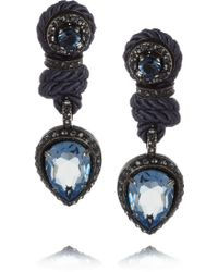 Lanvin Crystal and Cord Clip Earrings - Lyst
