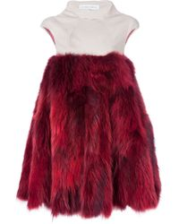 Amaya Arzuaga Contrast Fur Dress - Lyst