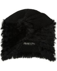 Elizabeth And James Susie Rabbittrimmed Knitted Turban Hat - Lyst