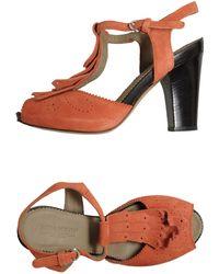 Lena Milos T-Strap Fringed Platform Sandals - Lyst