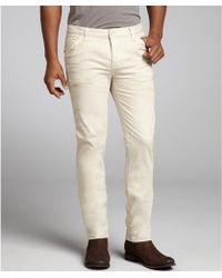 Gucci Beige Stretch Cotton Skinny Straight Leg Pants - Lyst