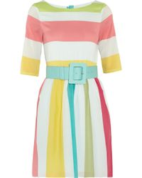 Alice + Olivia Anita Striped Stretchsilk Dress yellow - Lyst