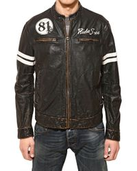 Armani Jeans Vintage Leather Biker Jacket - Lyst