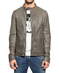 Dolce & Gabbana Zip Up Leather Jacket - Lyst