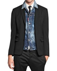DSquared2 Detachable Denim Vest and Wool Jacket - Lyst