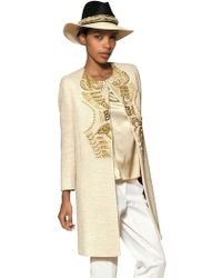 Etro Embroidered Cotton Bouclé Coat white - Lyst