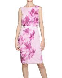 Giambattista Valli Flower Print Silk Georgette Dress pink - Lyst