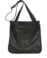 Giorgio Armani - Embossed Logo Grained Leather Bag - Lyst