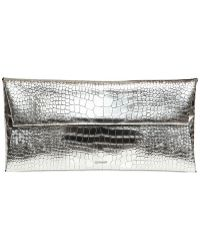 Jil Sander Printed Metallic Leather Envelop Clutch - Lyst