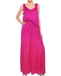 Lanvin Washed Silk Satin Long Dress - Lyst