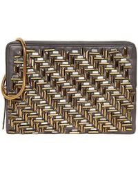 Lanvin Embroidered Satin Zipped Clutch - Lyst