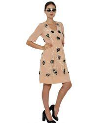 Marni Embroidered Silk Crepe De Chine Dress - Lyst