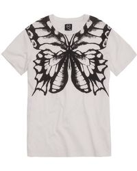 McQ by Alexander McQueen Butterfly Print Cotton Jersey Tshirt white - Lyst