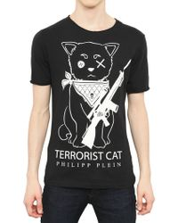Philipp Plein Terrorist Cat Cotton Jersey T-Shirt - Lyst