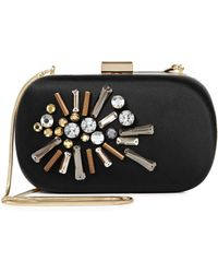 Reiss Yasmin Embellished Stone Hard Case Clutch - Lyst