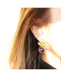 Toosis Fleur De Lis Earrings with Amethyst Stones - Lyst