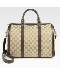Gucci Vintage Web Medium Gg Boston Bag - Lyst